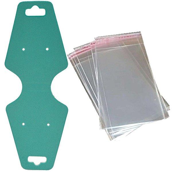 100 Cartelas Gravatas para Conjunto 4,9 x12 cm C29 + 100 Saquinhos Adesivos 6 x 12 cm