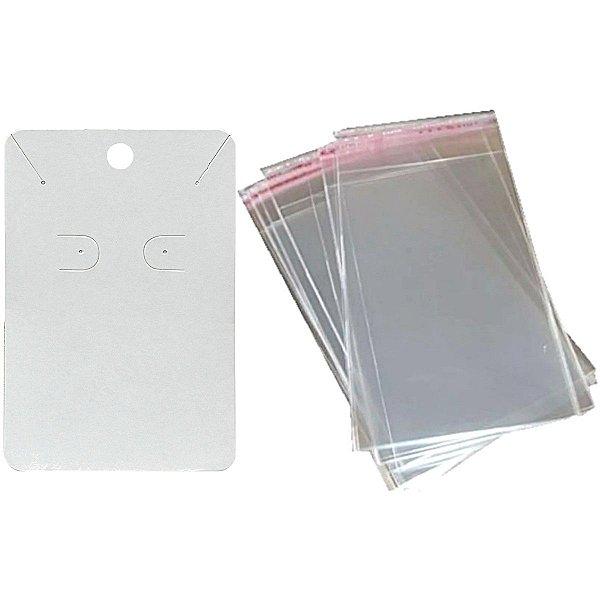 100 Cartelas Para Brinco e Corrente - 6,5 X 10 cm C40 + 100 Saquinhos Adesivos 8 x 15 cm