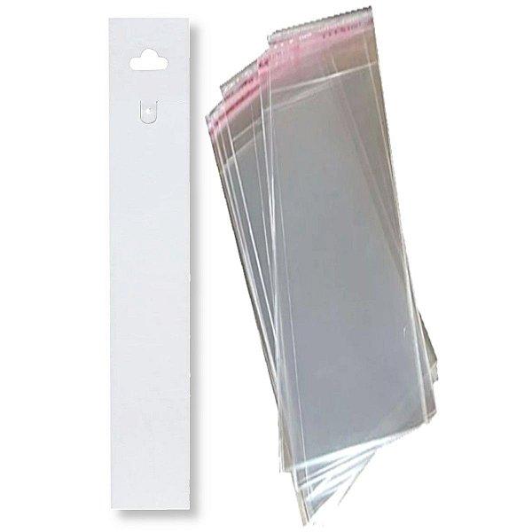 100 Cartelas Tag Para Pulseira 3,5 X 23 Cm - C39 + 100 Saquinhos Adesivos 6 x 25 cm