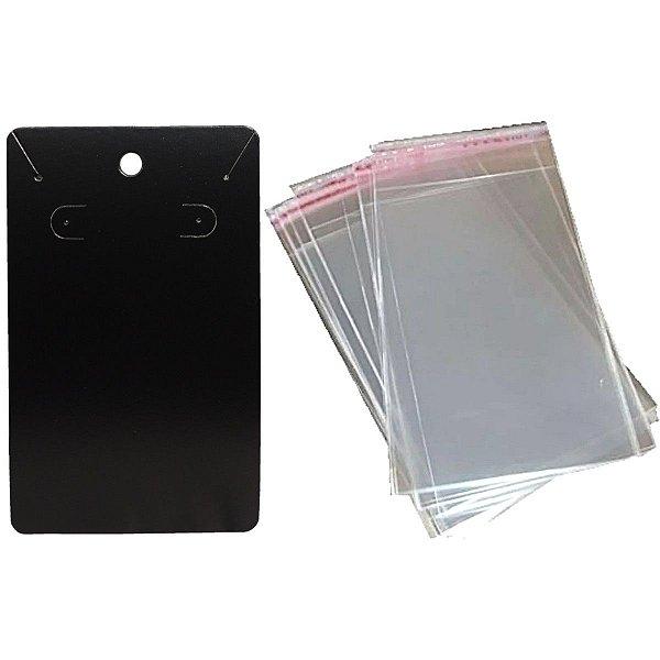 100 Cartelas Para Brinco e Corrente - 7,5 X 12 cm C34 + 100 Saquinhos Adesivos 9 x 13 cm