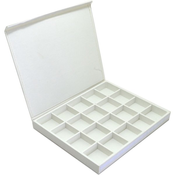 Bandeja Grande 20 Quadriculados 36,5 x 29,5 x 3,3 cm - Corino Branca com Tampa