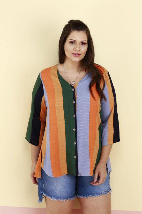 CAMISA PLUS SIZE  COM TRANSPASSE COSTAS