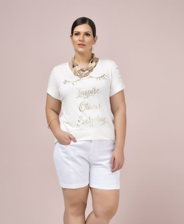 T-SHIRT PLUS SIZE INSPIRE OFF WHITE