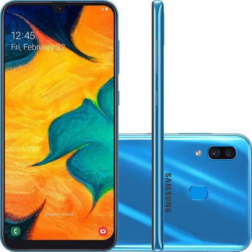 "Smartphone Samsung Galaxy A30 64GB Dual Chip Android 9.0 Tela 6.4"" Octa-Core 4G azul"