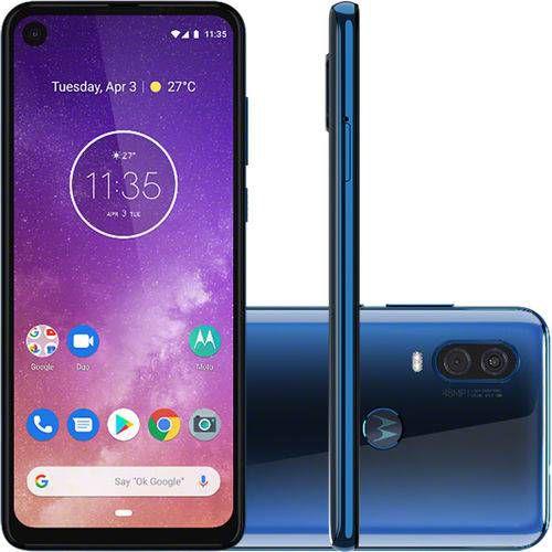 "Smartphone Motorola One Vision 128GB Dual Chip Android Pie 9.0 Tela 6,3"" 4G-azulsafira"