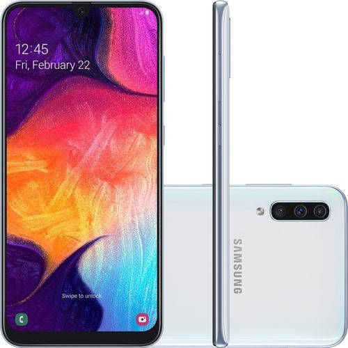 "Smartphone Samsung Galaxy A50 64GB Dual Chip Android 9.0 Tela 6,4"" Octa-Core 4G-Branco"