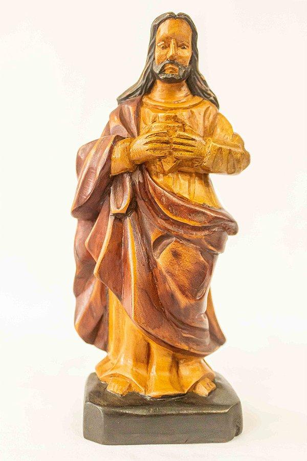 Sagrado Coração de Jesus em madeira 20 cm │ Mestre Dunga │ Alagoas