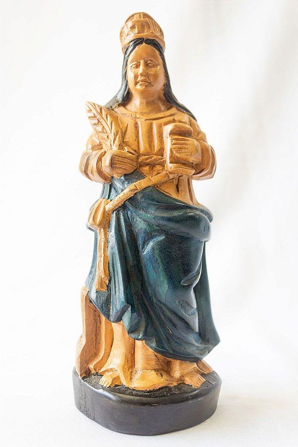 Imagem Santa Cecilia 20 cm em madeira │ Mestre Dunga │ Alagoas