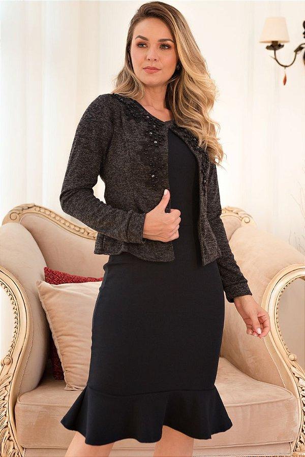 Vestido Barra Sino com Casaco Moda Evangelica com aplicação em guipir Maria Amore 3459