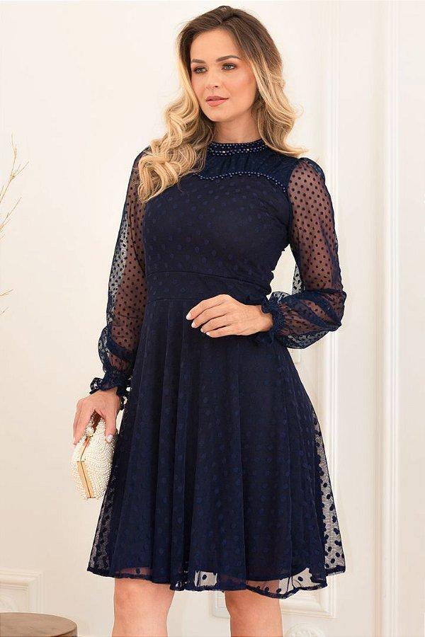 Vestido Lady Like Azul Moda Evangelica em Tule Póa Maria Amore 3461