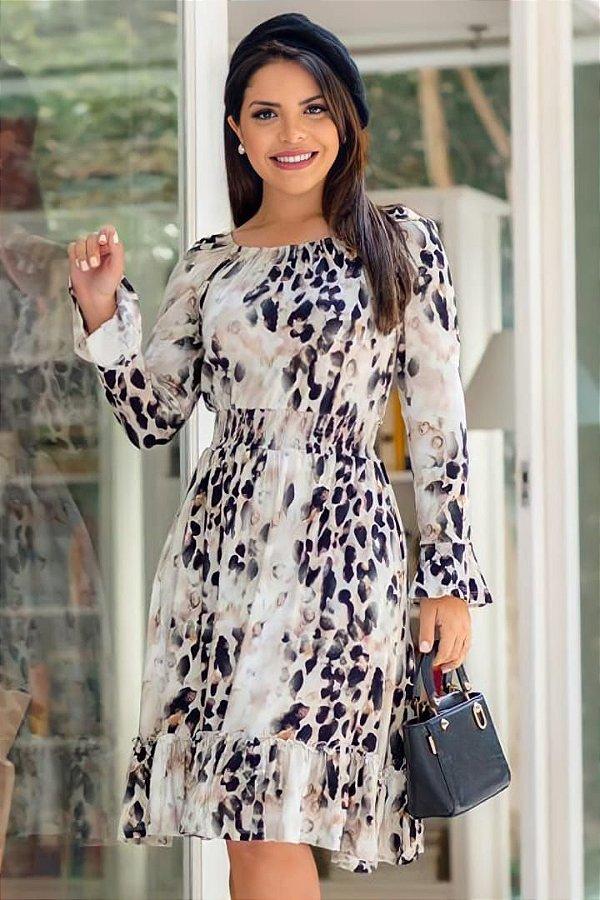 Vestido Lady Like Moda Evangelica com detalhe em Lastex com Forro Boutique K 5086