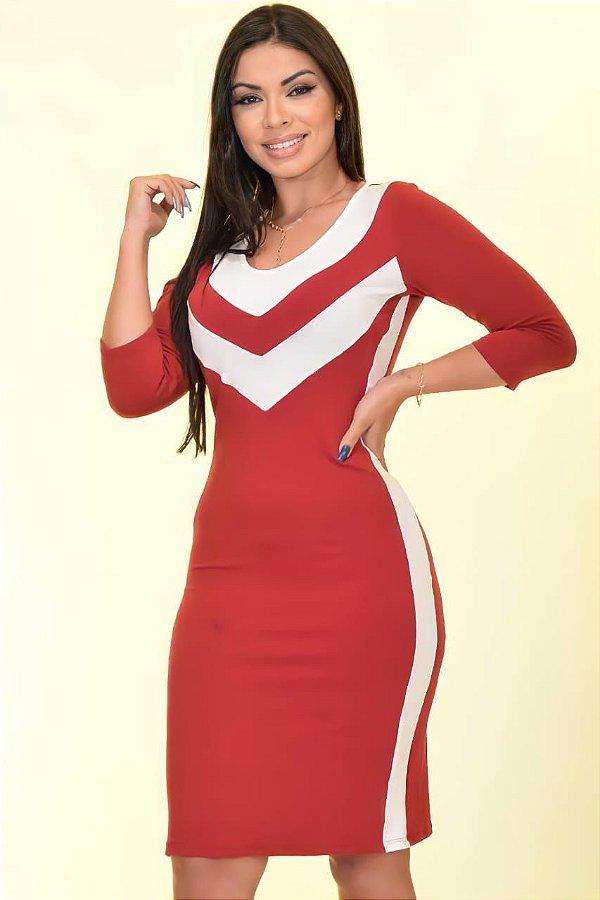 Vestido Tubinho Moda Evangelica Vermelho com detalhes em Recortes DM