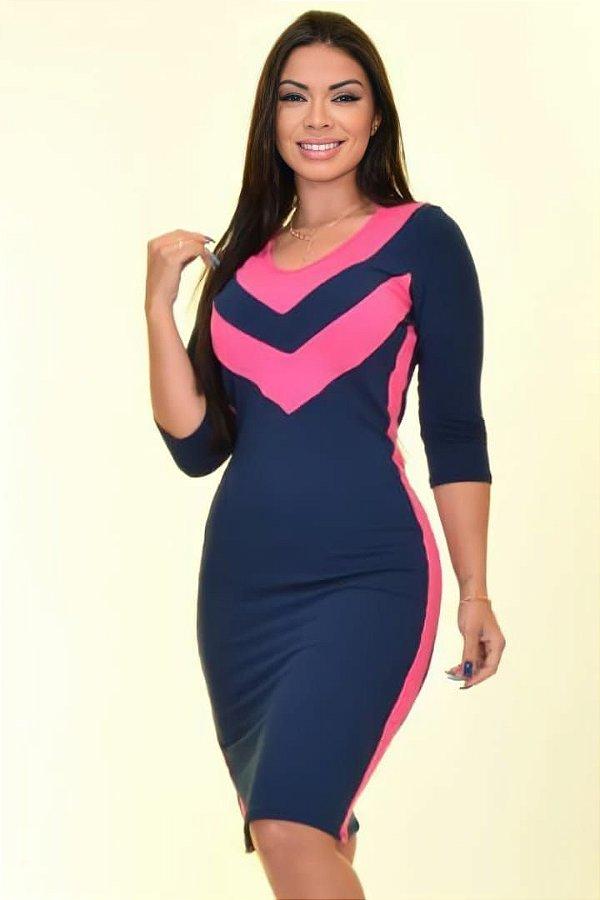 Vestido Tubinho Moda Evangelica Azul com detalhes em Recortes DM