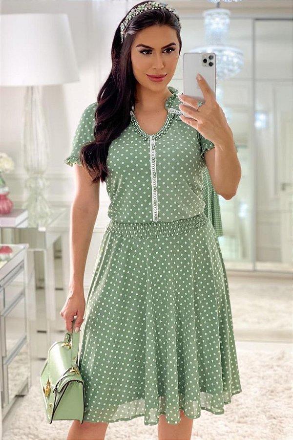Vestido Lady Like Moda Evangelica Verde em Póa com detalhe em Lastex RP