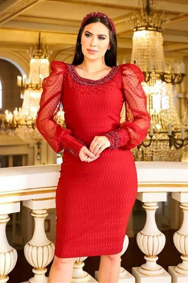 Vestido Tubinho Moda Evangelica Marsala com detalhes em Perolas RP