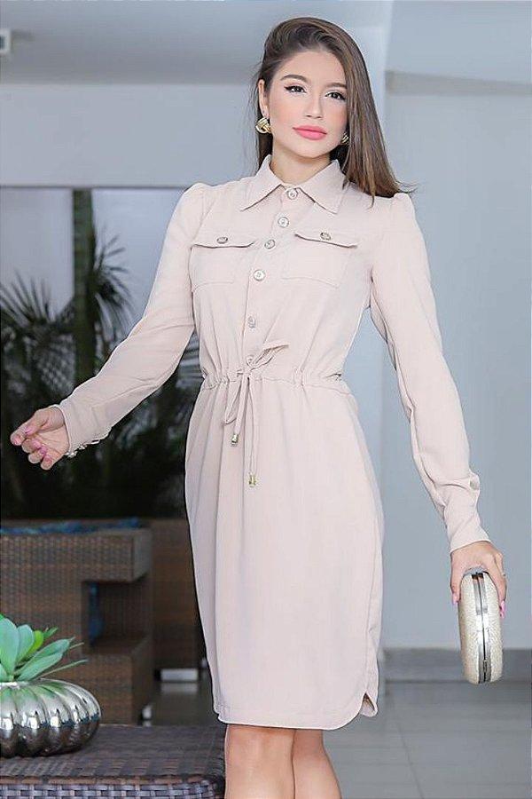Vestido Evasê Moda Evangelica em Viscose com detalhe em botões RP