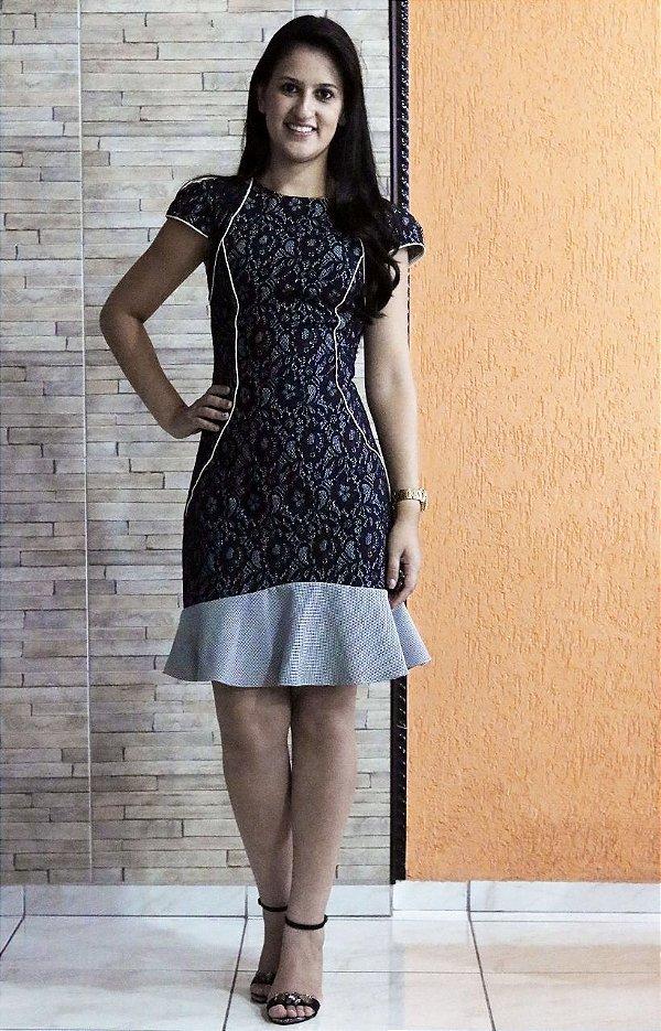 Vestido Jacquard de Renda Luzia Fazzolli