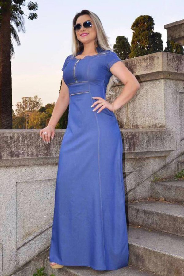 Vestido Longo em Chambray Azul Jeans RS 1395