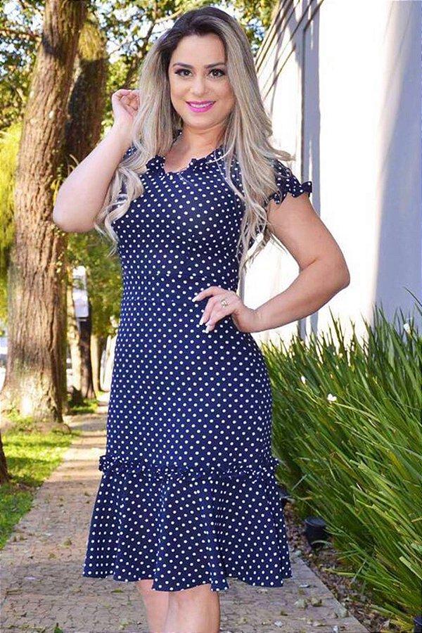 Vestido Azul Marinho com Poa RS1396