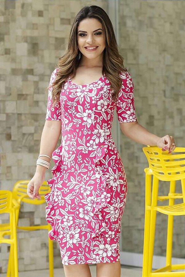 Vestido Laura Tubinho Estampado com Babados na Saia Bk4647