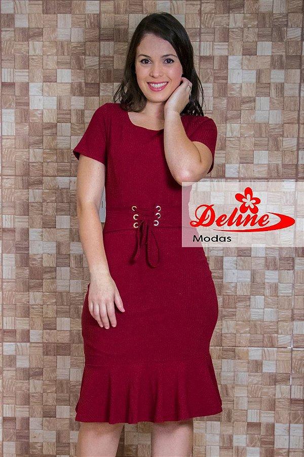 Vestido Marsala Moda Evangélica com detalhe em amarração na Cintura DM