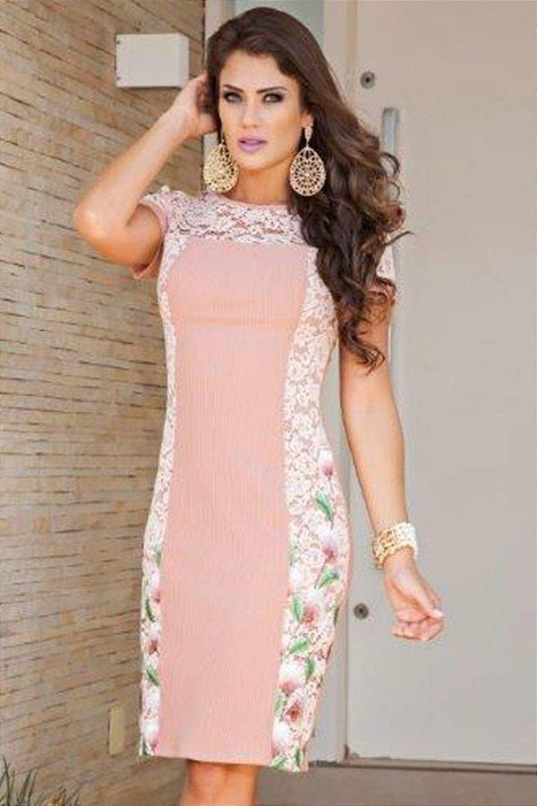 Vestido Moda Evangelica com Detalhe em Renda Kauly 2131