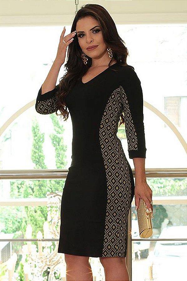 Vestido Moda Evangelica Preto Monia 81109