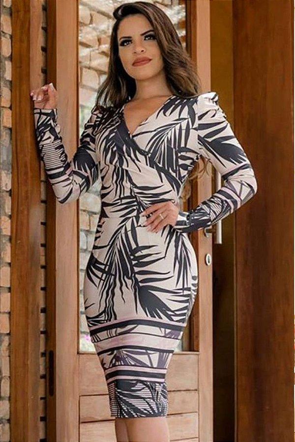 Vestido Moda Evangelica Manga Princesa Tranpasado BK 866