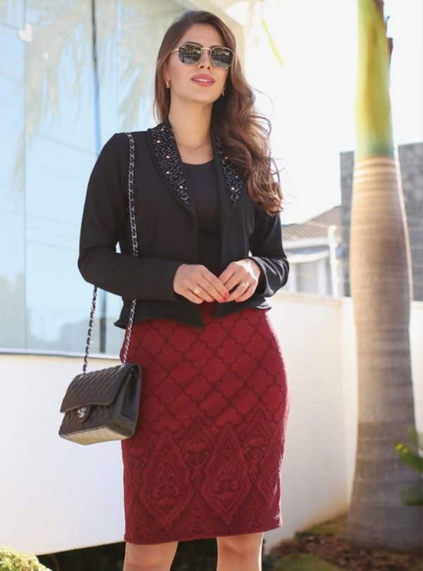 Vestido Moda Evangelica Duas Cores com Blazer em Pedraria RP