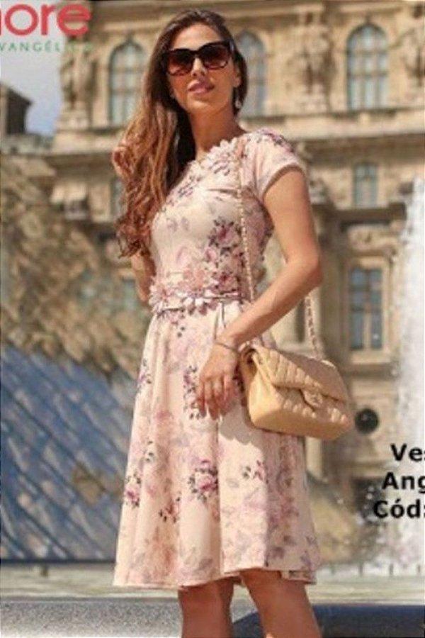 Vestido Lady Like Moda Evangelica Detalhes em Perola e flores Maria Amore 2037