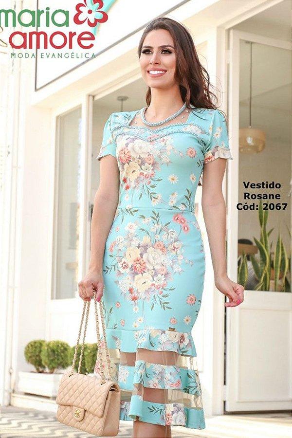 Vestido  Moda Evangelica Barra Sino com Tule Maria Amore 2067