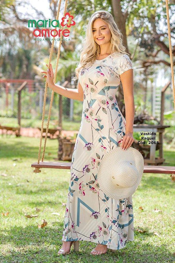 Vestido Longo Moda Evangelica Detalhes em Renda e Pedraria Raquel Maria Amore 2068