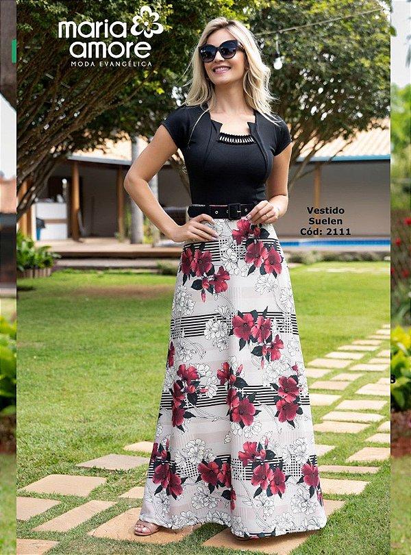 Vestido Longo Moda Evangélica com Cinto Maria Amore 2111
