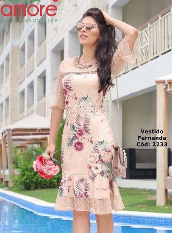 Vestido Sino Moda Evangelica Detalhe em Tule e Perolas Maria Amore 2233