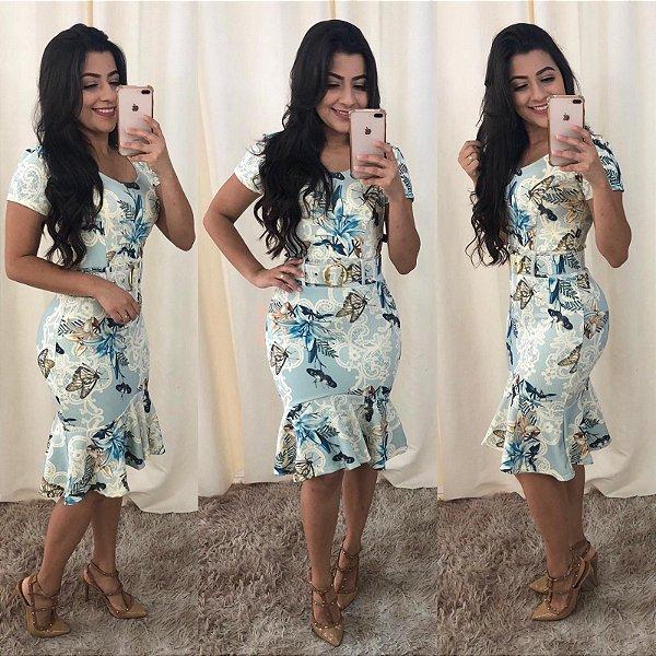 Vestido Sino Moda Evangelica com Cinto KB