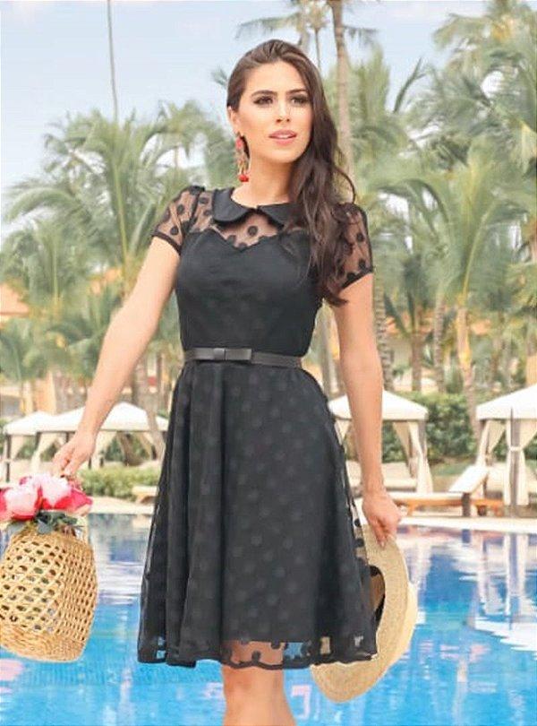 Vestido Lady Like Moda Evangelica Detalhe em Tule Poa RP