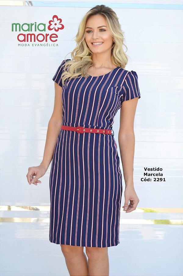 Vestido Tubinho Moda Evangelica Com Cinto Maria Amore 2291