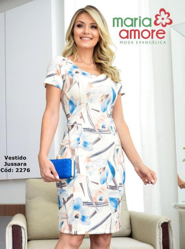 Vestido Tubinho Moda Evangelica Estampado Maria Amore 2276