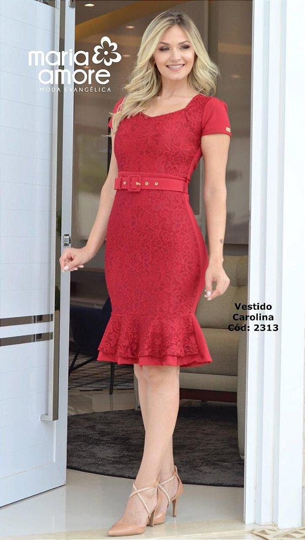 Vestido Vermelho Moda Evangelica Barra Sino com Detalhe em Renda e Cinto Maria Amore 2313