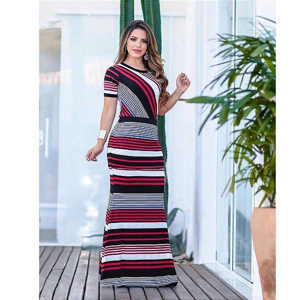 Vestido Longo Moda Evangelica em Malha com Forro BK 4744