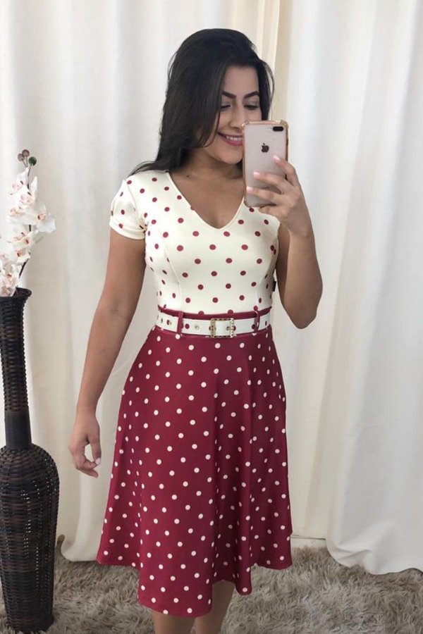 Vestido Moda Evangelica Lady Like em Poa KB