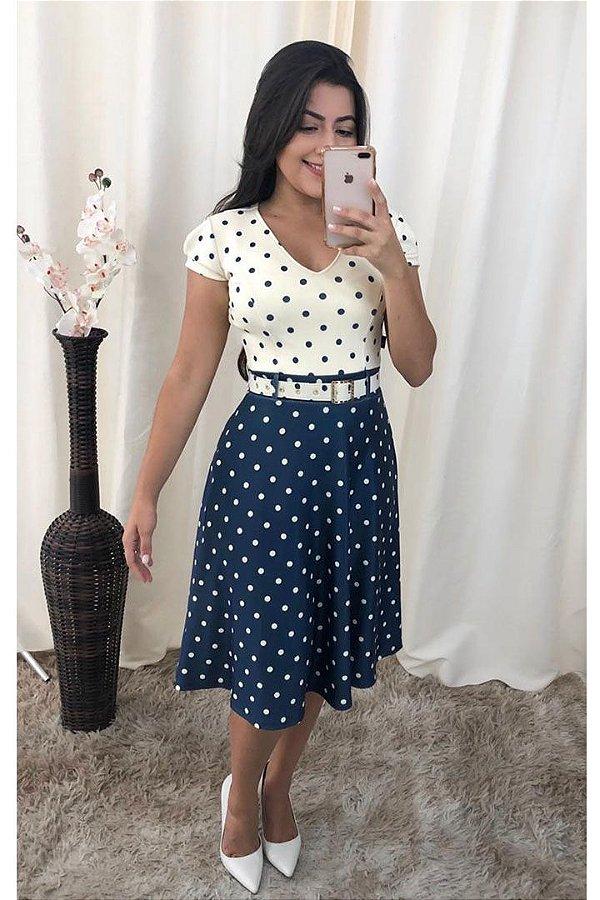 Vestido Moda Evangelica Lady Like em Poa Marinho KB