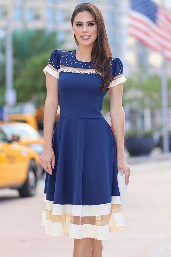 Vestido Lady Like Moda Evangelica Azul Marinho RP