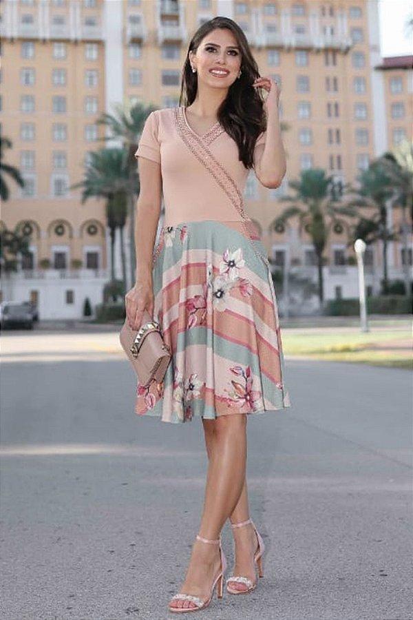 Vestido Lady Like Moda Evangelica Detalhes em Perolas RP
