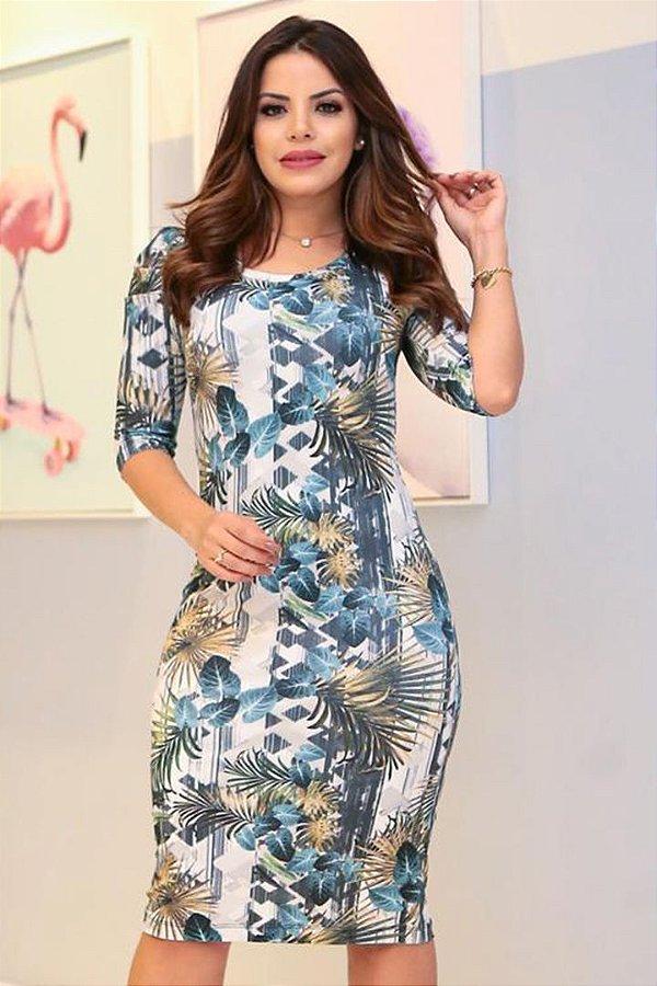 Vestido Moda Evangelica em Malha Estampado Boutique K 0897