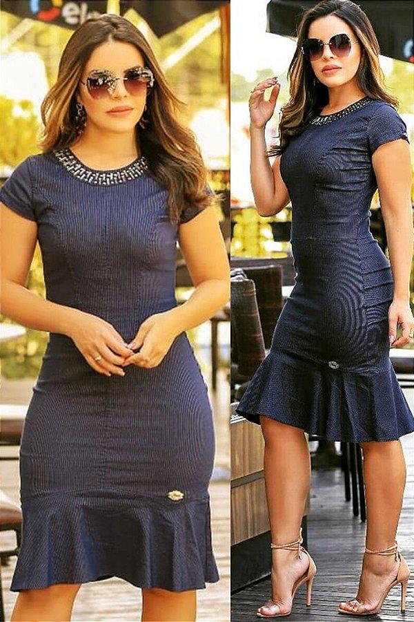 Vestido Moda Evangelica Jeans Bengaline com Elastano Monia 86157