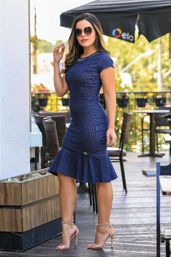Vestido Azul Moda Evangelica com Elastano Monia 86157