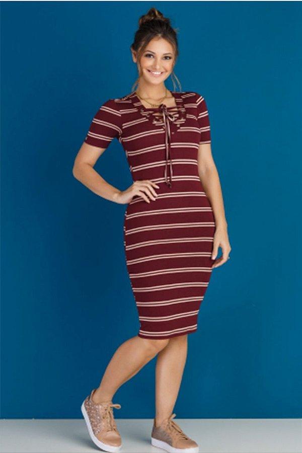 Vestido Marsala Listras com Ilhos   Moda Evangelica Tata Martello 4100