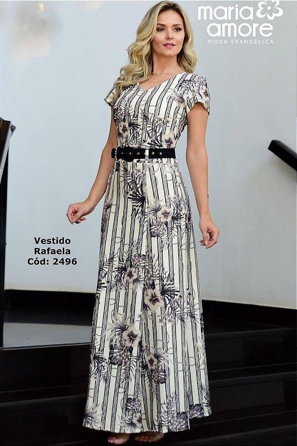 Vestido Longo com Cinto Moda Evangelica Maria Amore 2496