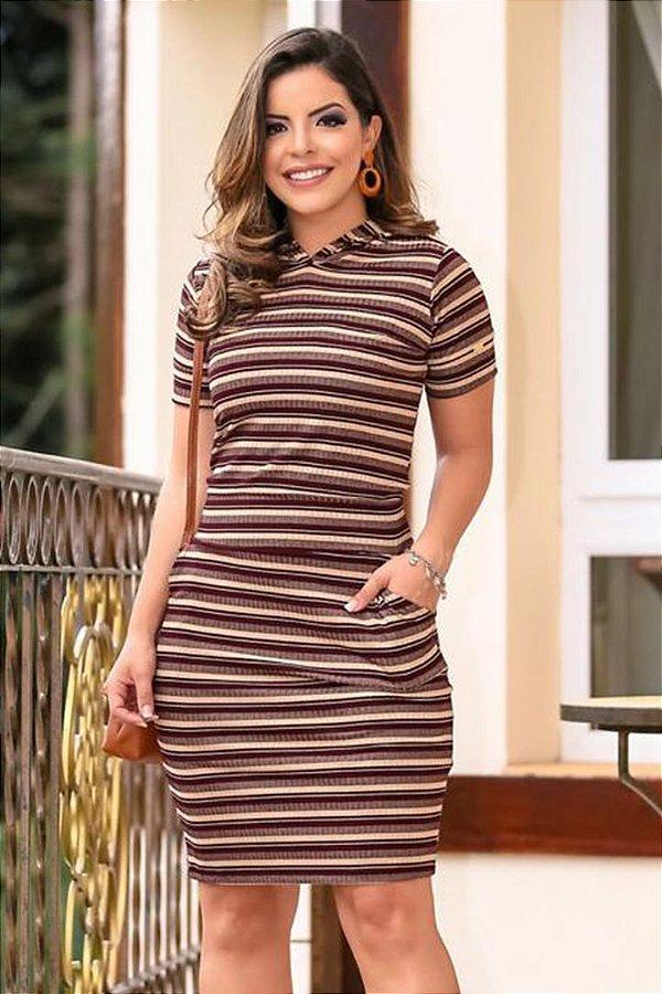Vestido Moda Evangelica Em Malha Canelado Boutique k 4771